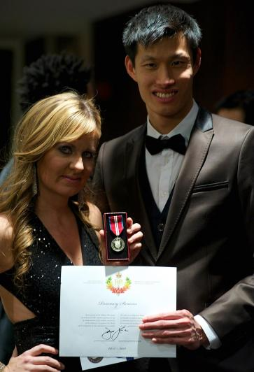 receiving the Queens Diamond Jubilee medal after our show at the Queen Elizabeth Theatre